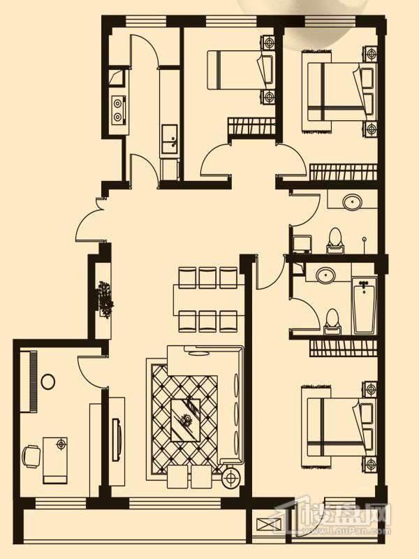 D1户型4室1厅2卫1厨