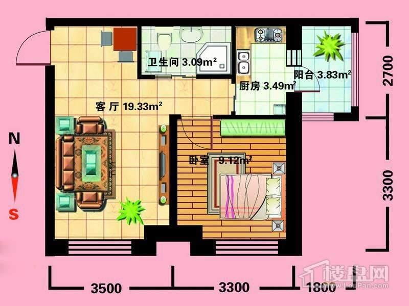 C户型1室1厅1卫1厨