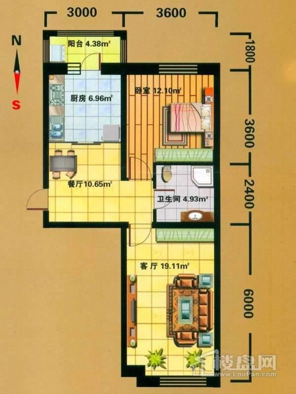 F户型3室1厅1卫1厨