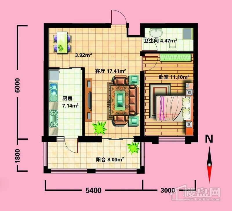 K户型1室1厅1卫1厨