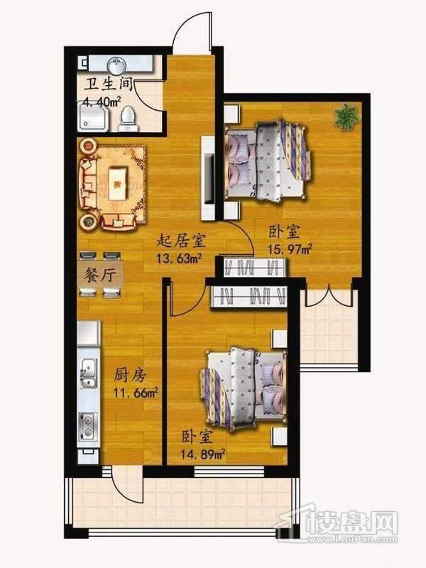 户型A2室1厅1卫1厨 60.55