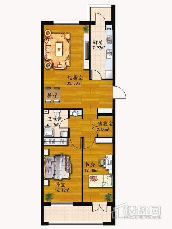 户型C2室1厅1卫1厨 78.02