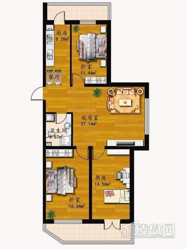 户型D3室1厅1卫1厨 82.73