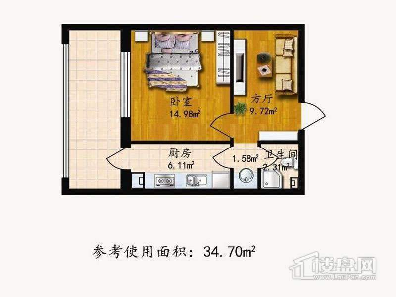 户型E1室1厅1卫1厨 34.70