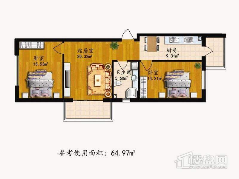 户型G2室1厅1卫1厨 64.97