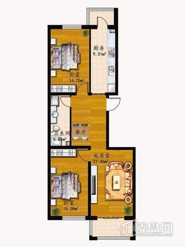 户型H2室1厅1卫1厨 72.40