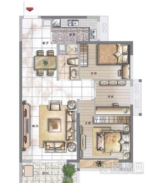 天泽江鼎46#02单元3室2厅2卫1厨