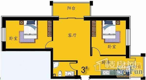 绿色新城户型图3#D户型