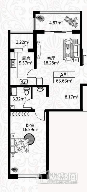 户型图8号楼2单元