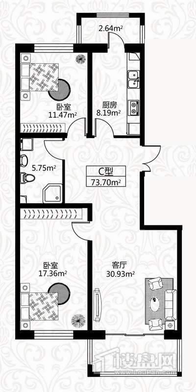 户型图6号楼3单元