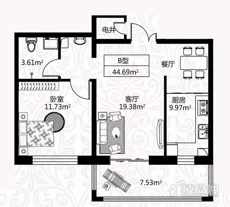 户型图7号楼1单元