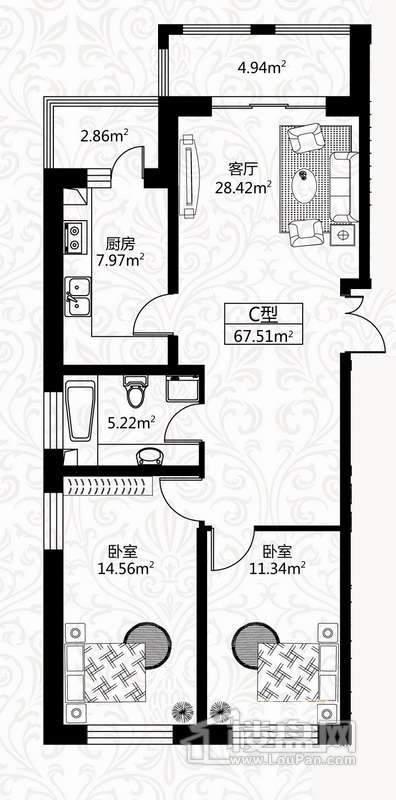 户型图7号楼3单元