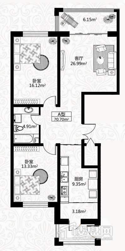 户型图4号楼2单元