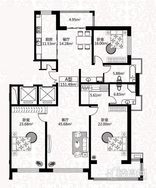 户型图5号楼1单元