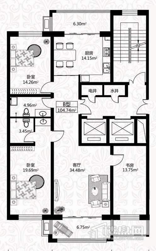 户型图5号楼2单元