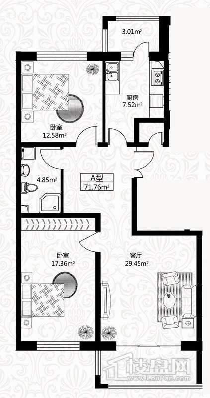 户型图6号楼2单元