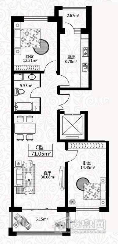户型图10号楼1单元