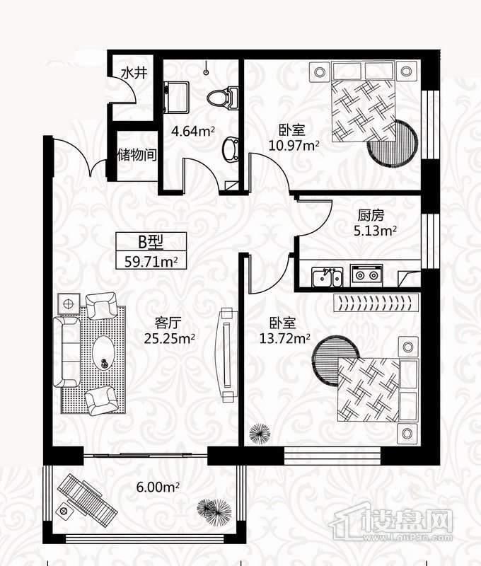 户型图8号楼1单元