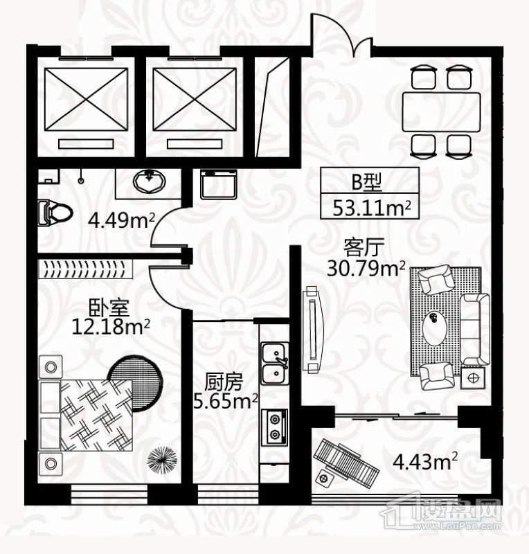 户型图4号楼1单元