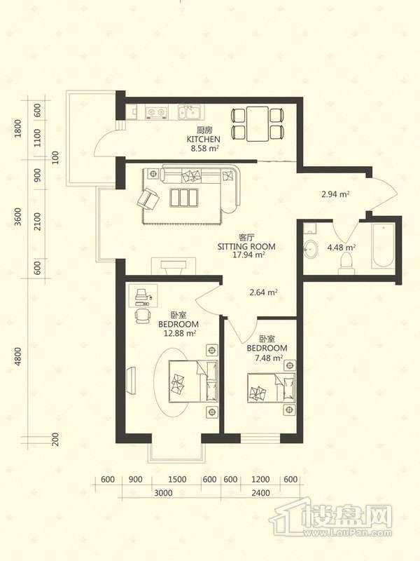 泰山领秀户型图1-3 3-2