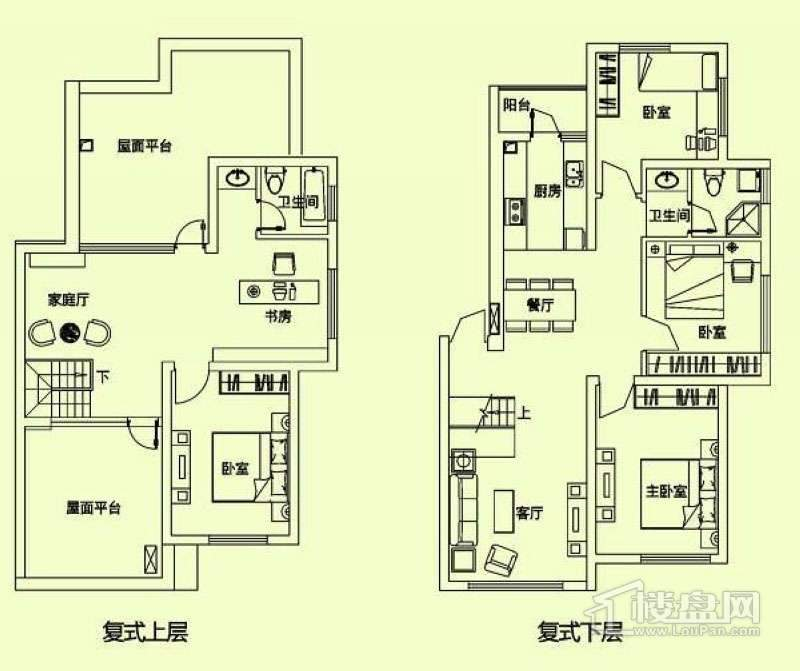 滨才城户型图复式户型 6室