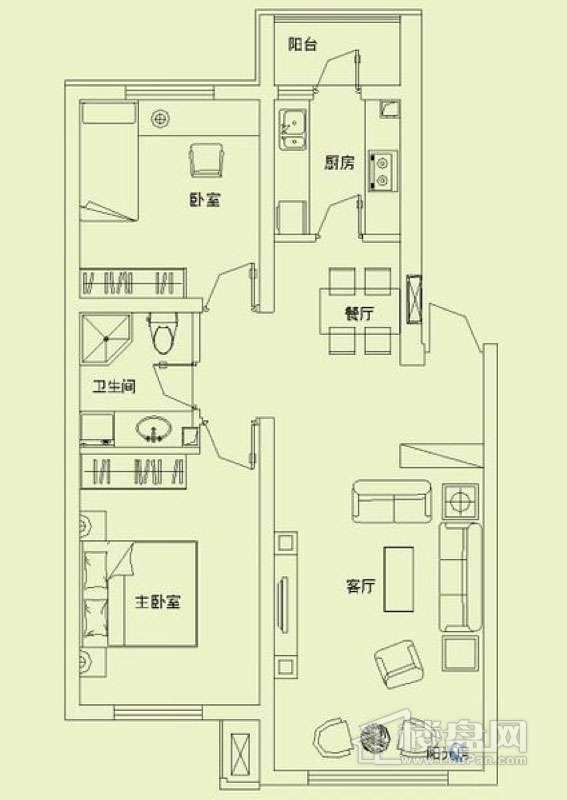 滨才城户型图2室