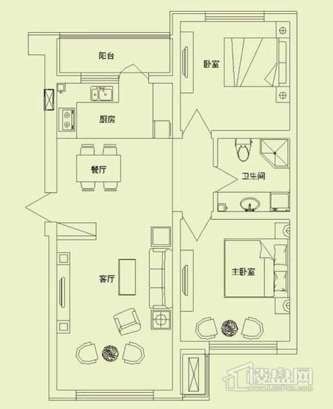 滨才城户型图3室