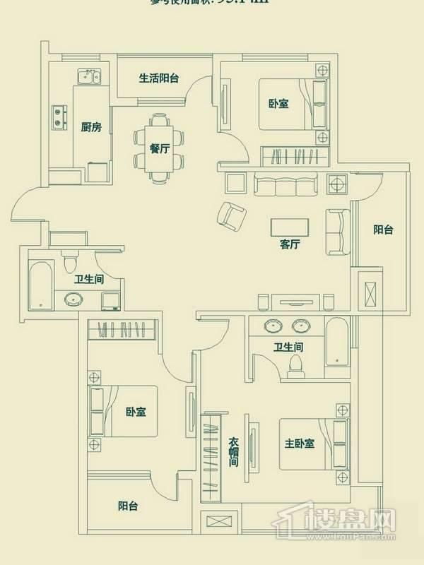 滨才城户型图3室2