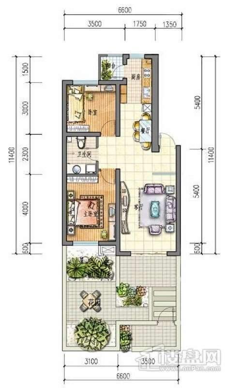 滨才城户型图54-B-1 2室2