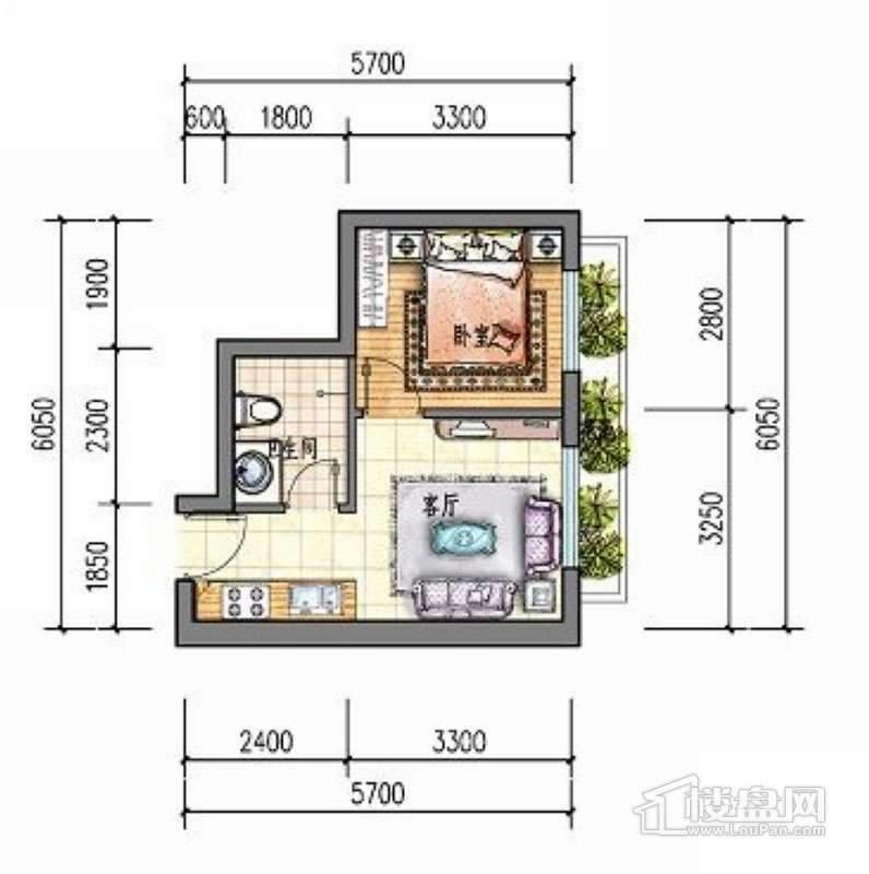 滨才城户型图24-B-2 1室1厅