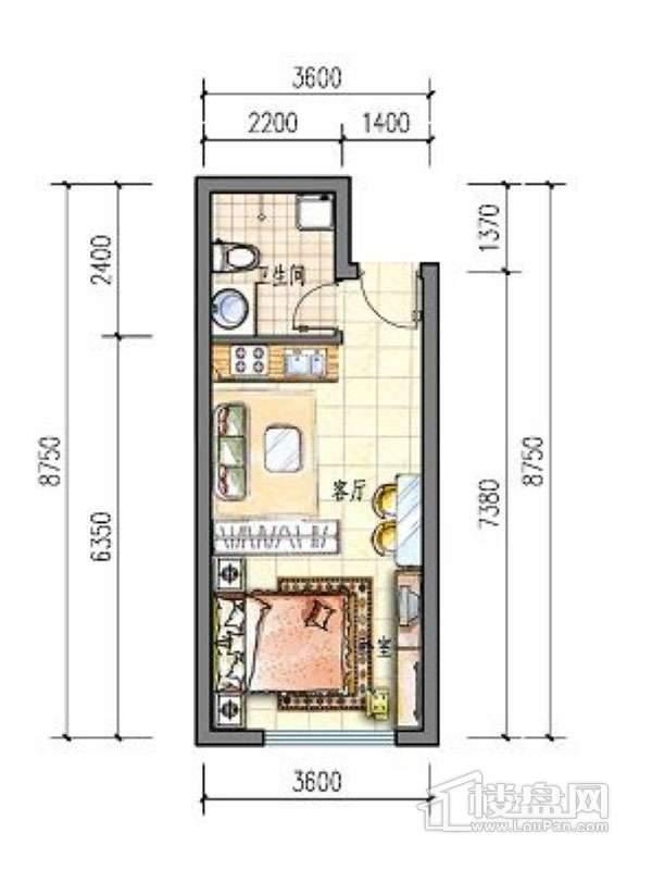 滨才城户型图24-E-2 1室1