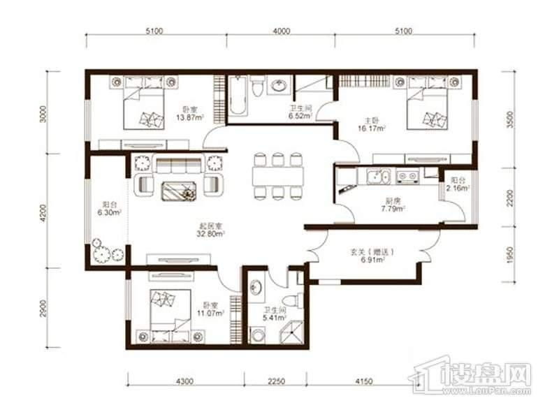 中山国际户型图C2户型 3室