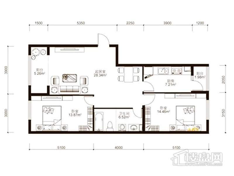 中山国际户型图B4户型 2室