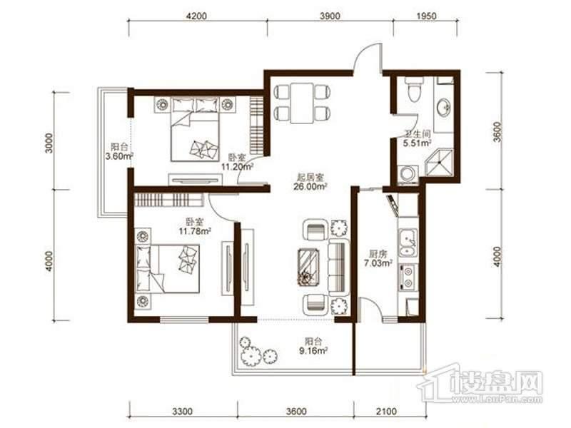 中山国际户型图B2户型 2室
