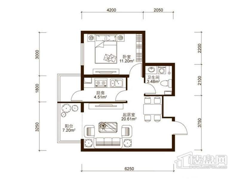 中山国际户型图A2户型 1室