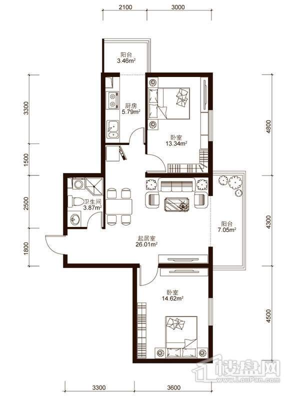 中山国际户型图B3户型 2室