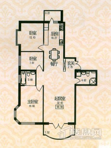 福宏名城户型图 3室