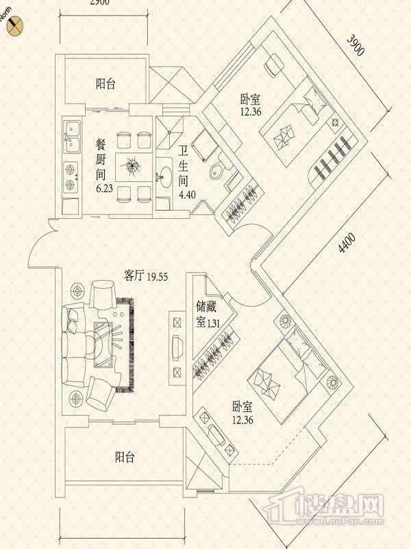 悦城户型图G1-G2B户型图 2