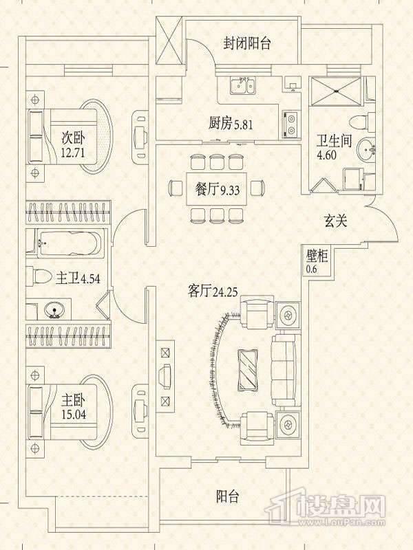 悦城户型图3号楼户型图 2室