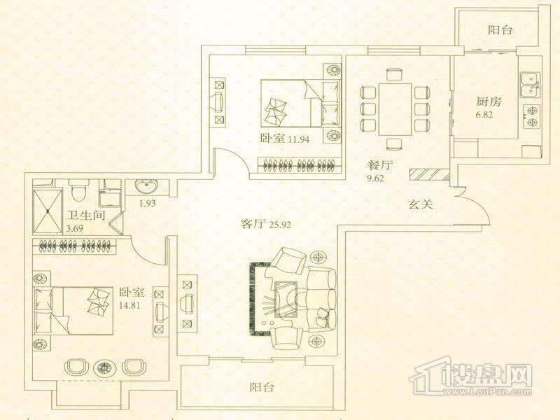 悦城户型图G1-G2A户型图 2