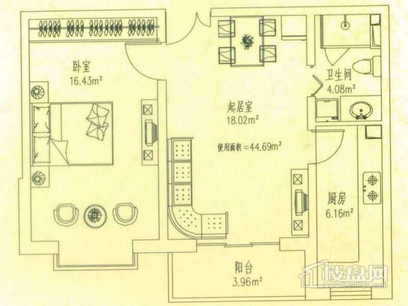 悦城户型二 1室1厅1
