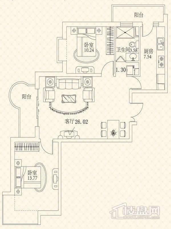 悦城G3-5号楼户型 2