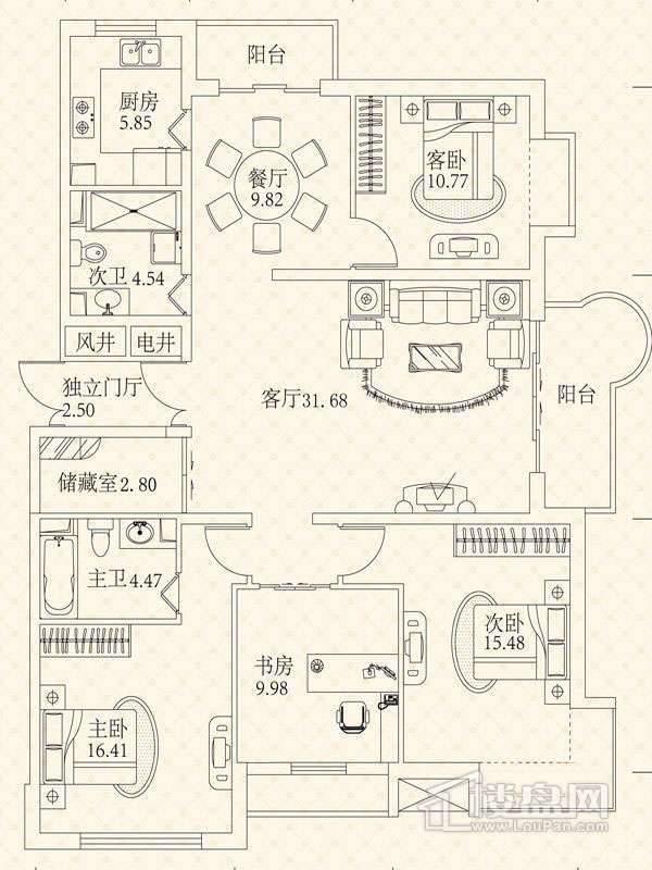 悦城G4-5号楼户型 4
