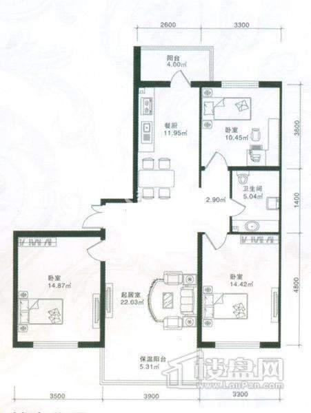 悦城三室两厅81.66平
