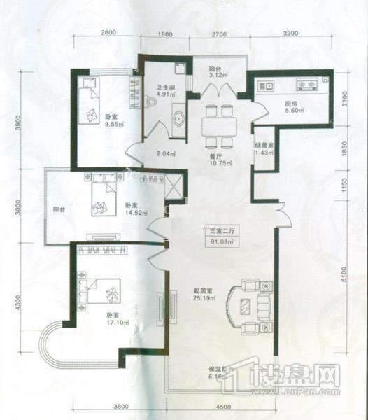 悦城三室两厅91.09平
