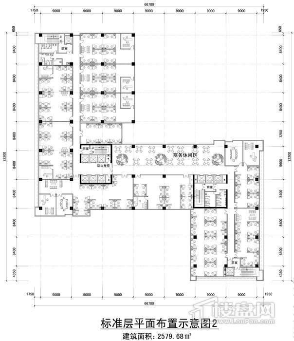 黔桂国际商务中心标准层平面布置图示意图