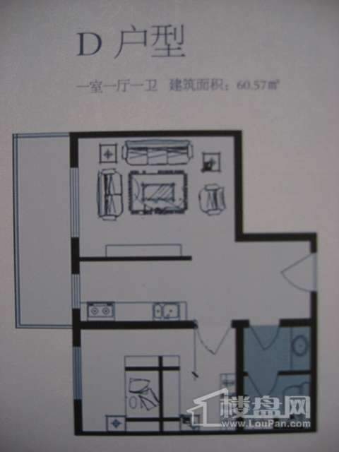 太行雅苑D户型1室1厅1卫1厨