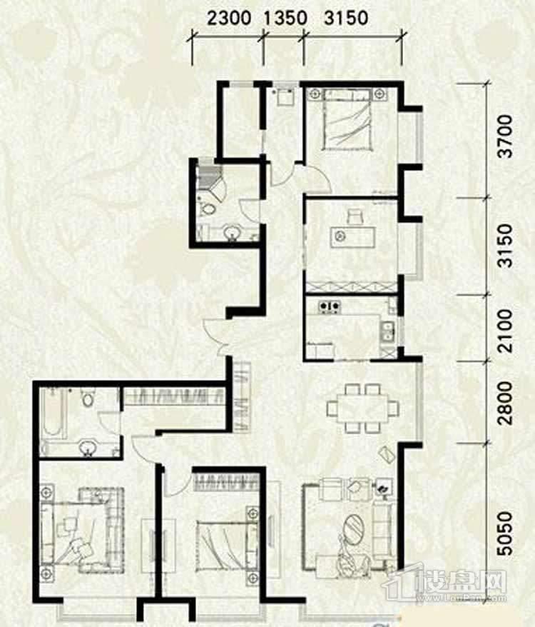 户型五室二厅二卫一厨