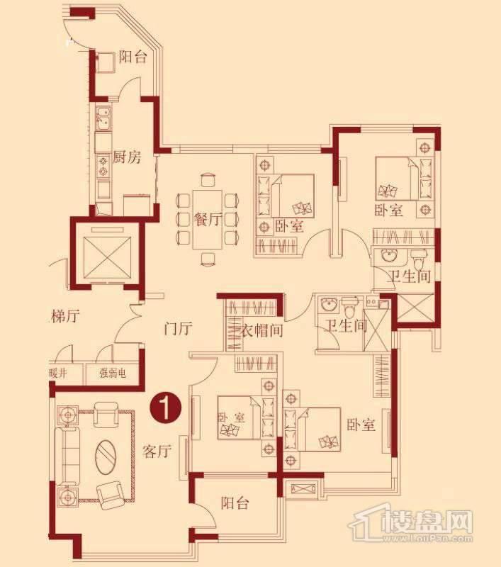 恒大绿洲B户型4室2厅2卫1厨