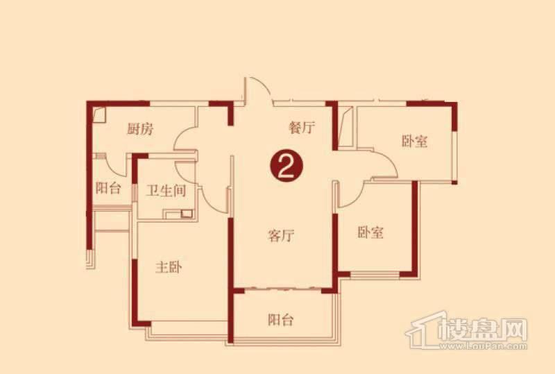 恒大绿洲D户型图3室2厅1卫1厨